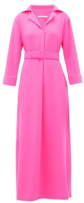Marta Ferri - Belted Wool-crepe Maxi Dress - Fuchsia