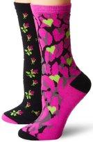 Betsey Johnson Women's Two-Pair Pack Classic Crew Socks In Gift Box
