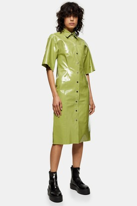 Topshop Womens **Light Green Vinyl Leather Midi Dress By Sea Green