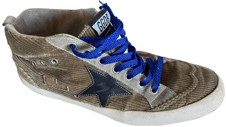 Golden Goose Mid Star Brown Cloth Trainers