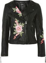Topshop Floral Applique Biker Jacket