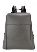 Valextra Slate Grey Soft Grained Leather Backpack