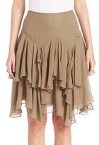 Polo Ralph Lauren Tiered Silk-Blend Gauze Skirt