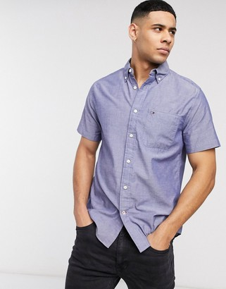 Tommy Hilfiger wainwright solid long sleeve shirt in blue