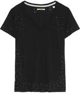J Brand Janis Distressed Printed Stretch-Jersey Top