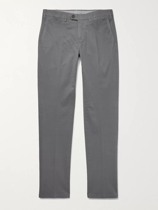 Canali Slim-Fit Stretch-Cotton Twill Chinos - Men - Gray