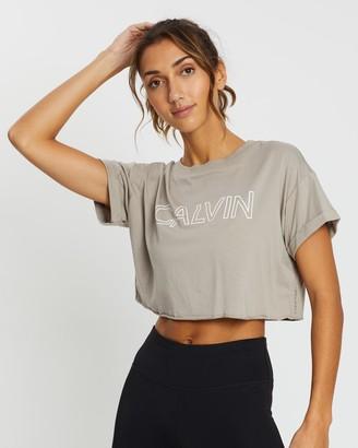Calvin Klein Outline Calvin Logo SS Crop Tee