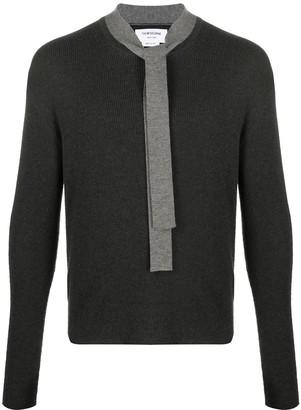 Thom Browne Merino wool tie neck jumper