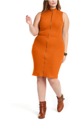 Planet Gold Trendy Plus Size Juniors' Sleeveless Zip-Front Sweater Dress