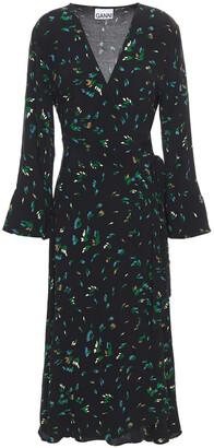Ganni Checked Crepe Midi Wrap Dress