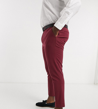 ASOS DESIGN Plus super skinny suit trousers in burgundy