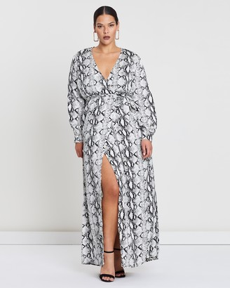 Missguided Curve Plunge Snake Print Maxi Dress