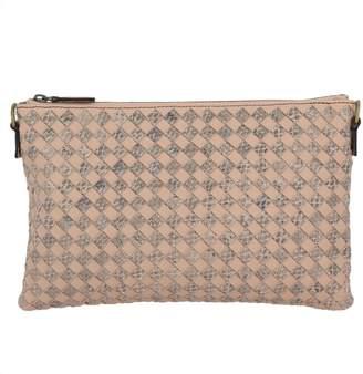 Bottega Veneta Shoulder Bag Clutch Model In Genuine Leather With Bicolor Woven Pattern