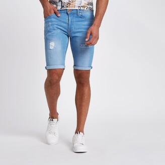 River Island Mens Light Blue wash skinny ripped denim shorts