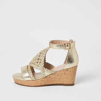 River Island Girls Gold metallic woven wedge sandals