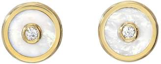 Mother of Pearl White Mini Compass Stud Earrings
