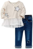 Jessica Simpson Heathered French Terry with Chiffon Tunic & Jean Set (Baby Girls)