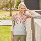 Alfred Dunner Botanical Garden 3/4 Sleeve Crew Neck T-Shirt-Womens