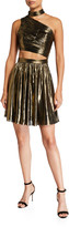 Metallic Chiffon Mock-Neck Sleeveless Ruched Cutout Dress