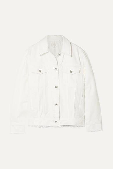 Rag & Bone Frayed Denim Jacket - White