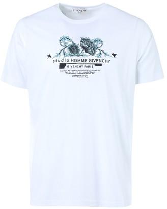 Givenchy White And Aqua Floral Print Logo T-shirt