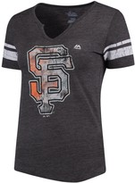 Majestic Women's Charcoal/White San Francisco Giants Slugging Percentage V-Notch T-Shirt