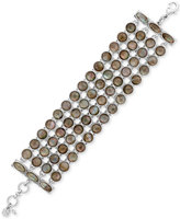 Lucky Brand Silver-Tone Mother-of-Pearl-Look Strand Bracelet