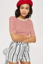 Topshop Striped paper bag shorts