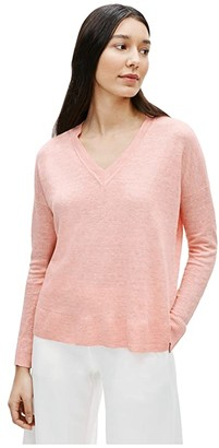 Eileen Fisher V-Neck Box-Top (Light Pink/Grapefruit) Women's Clothing