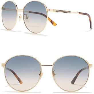 Gucci 58mm Round Metal Frame Sunglasses