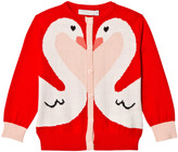 Stella McCartney Red and Pink Swan Lauren Cardigan