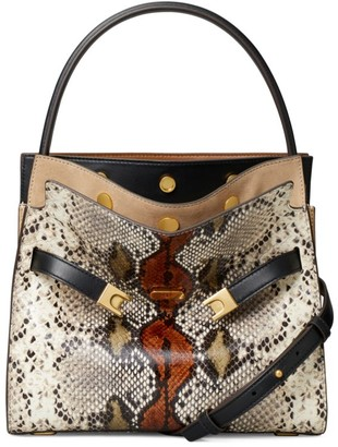 Tory Burch Small Lee Radziwill Snakeskin-Print Top Handle Bag