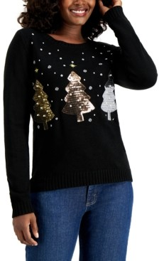 Karen Scott Petite Sequin Christmas Tree Pullover Sweater, Created for Macy's