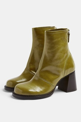 Topshop Womens Milo Green Patent Leather Chunky Scoop Toe Boots - Green