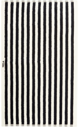 Tekla Off-White and Black Striped Organic Cotton Bath Towel