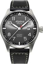 Alpina Al-525gb4s6 Startimer Pilot Automatic Sunstar Leather Strap Watch, Black/dark Grey