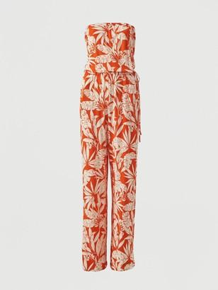Very Strapless Tie Waist Jumpsuit - Orange Print
