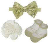 Little Me Flower Clip, Head Band and Booties Set