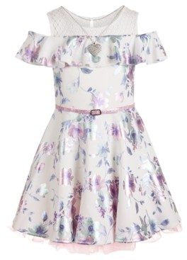 Beautees Big Girls Plus Size Belted Skater Dress