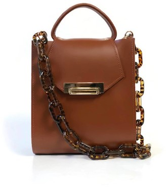 Angela Valentine Handbags Romi Croc Embossed Leather Bag In Chestnut Brown