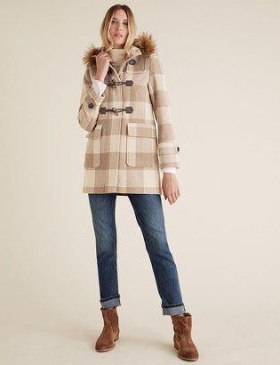 Marks and Spencer Checked Duffle Coat with Wool