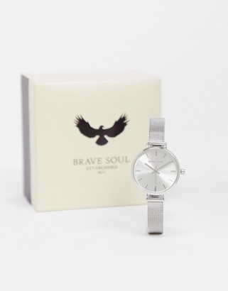 Brave Soul stainless steel mesh watch in silver tone