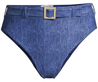 WeWoreWhat Emily Dark-Wash Belted Bikini Bottoms