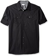 Calvin Klein Men's Big and Tall Solid Poplin Roll Tab Long Sleeve Button Down Shirt