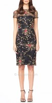 David Meister Illusion Floral Embroidered Cocktail Dress