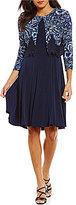 Jessica Howard 3/4-Sleeve Printed 2-Piece Jacket Dress