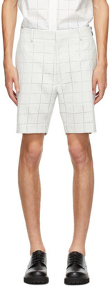 Fendi White Wool Punched Check Shorts