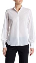 Helmut Lang Sheer Mandarin Collar Button Up Shirt
