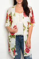 Musa M USA Ivory/red/mustard Floral Cardigan