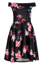 Quiz Black Floral Bardot Dip Hem Dress